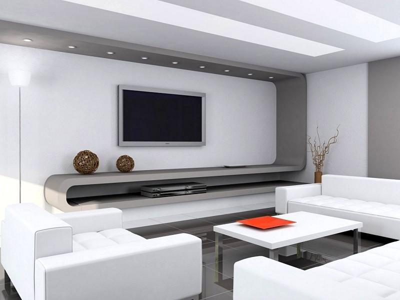 Такая отделка стен в гостиной характерна для современных стилей - otdelat.ru