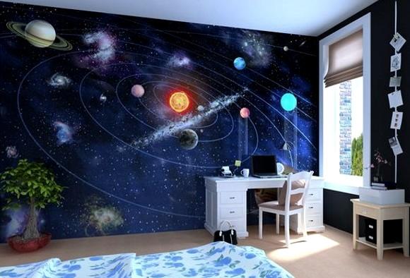 Фотообои на космическую тематику в детской - очень удачный пример использования отделочного материала - otdelat.ru