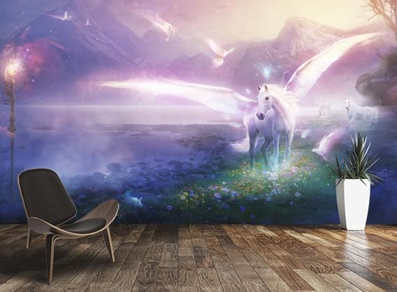 Ещё одна интересная задумка с ярким рисунком для стены - otdelat.ru